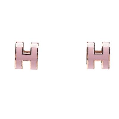 HERMES 經典Pop H立體簍空橢圓LOGO耳環(小_粉/玫瑰金)