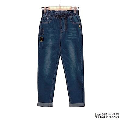 WHALE JEANS 青春活力鬆緊綁帶有趣圖標中腰牛仔長褲