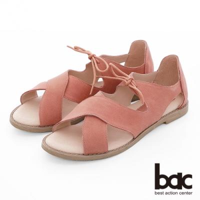 【bac】繽紛曼谷 -波浪大交叉綁帶涼鞋-棕紅色
