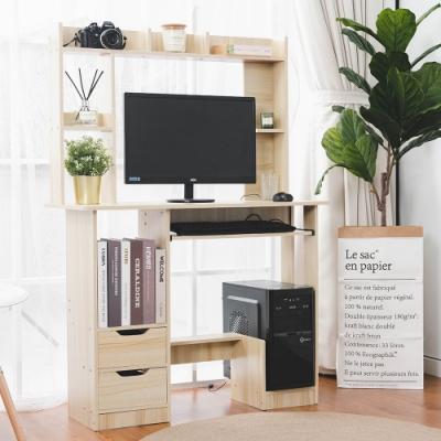 樂嫚妮 書櫃型書桌/工作桌/雙抽屜/多格收納-附主機架-楓櫻木-寬90深40高131cm