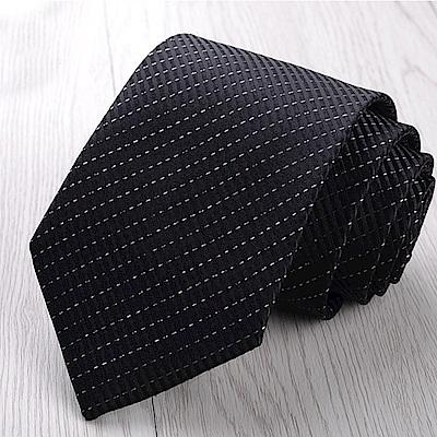 拉福   黑銀絲8CM寬版領帶拉鍊領帶(兒童)