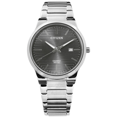 CITIZEN 時刻潮流礦石強化玻璃日期日本機芯不鏽鋼手錶-灰色/39mm