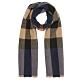 BURBERRY 經典格紋羊毛羊絨針織披肩圍巾 深藍 product thumbnail 1