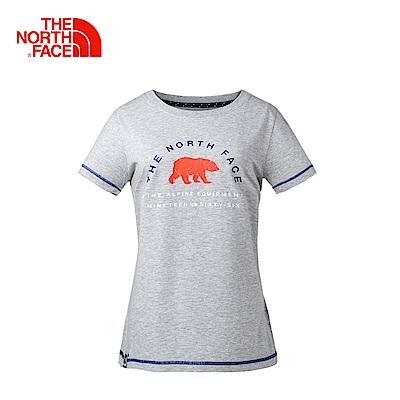 The North Face北面女款淺灰色戶外休閒短袖T恤 3CIZDYX