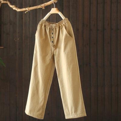素色棉質抽繩鬆緊腰夾棉棉褲寬鬆哈倫長褲-設計所在