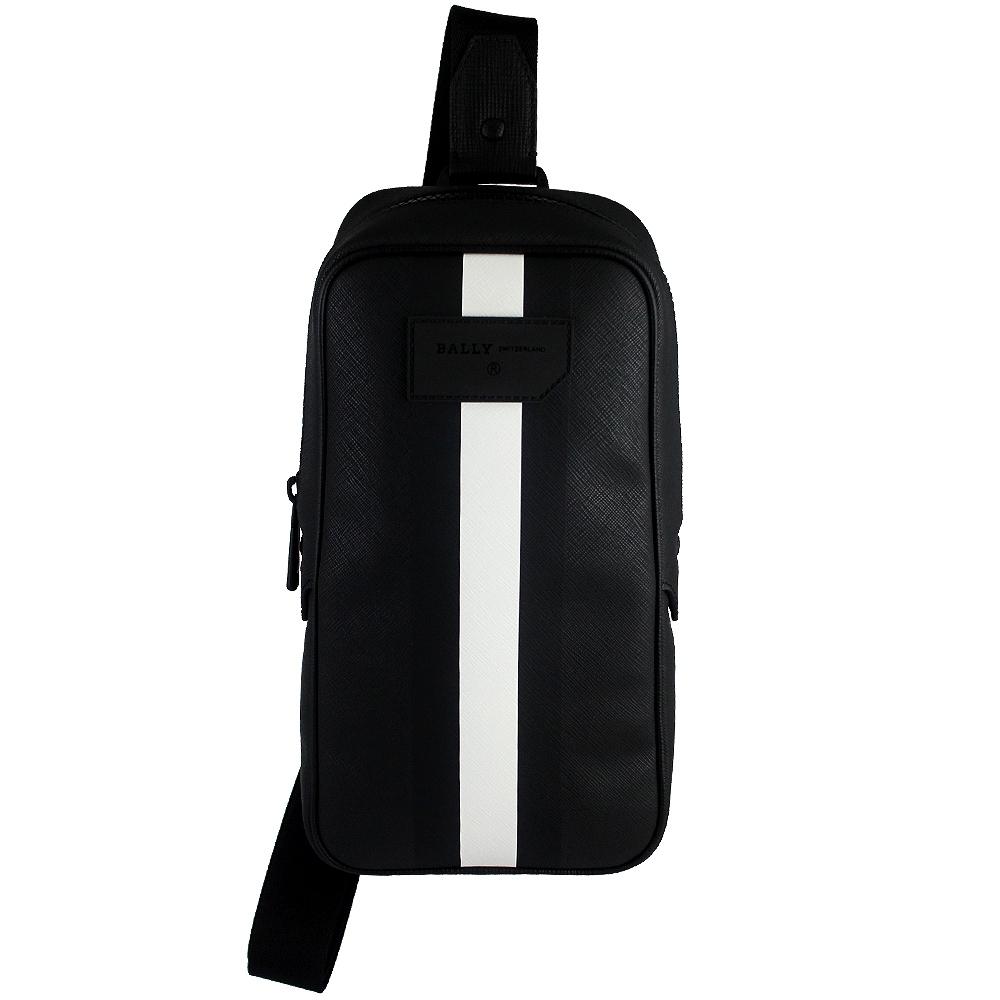BALLY 經典條紋黑色防水皮革單肩背/斜背包
