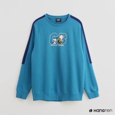 Hang Ten - 男裝 - Charlie Brown-童趣印花配色長袖上衣-藍