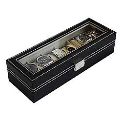 梨花HaNA 6格手錶珍藏家皮革收納盒/防潮錶盒