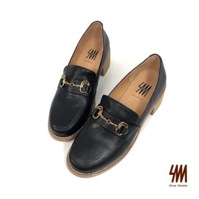 SM-經典雙C馬蹄扣木紋跟樂福鞋(粉圓黑)