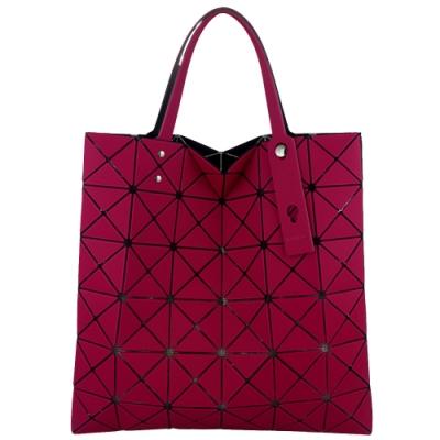 ISSEY MIYAKE 三宅一生BAOBAO 斜面方格6x6透光手提包(桃紫色)