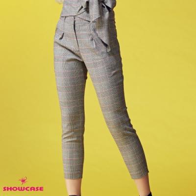 【SHOWCASE】氣質英倫格紋修身窄管七分西裝褲-灰