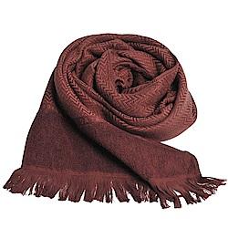 TRUSSARDI 貴族犬W水波紋字母LOGO長棉質圍巾(深咖啡色)