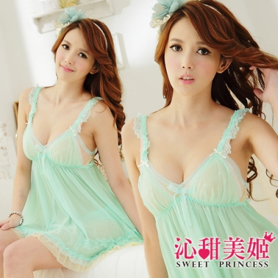 奢華網紗睡衣裙組 荷葉肩帶V領美胸+雙層配色設計蕾絲裙襬 沁甜美姬(湖綠)