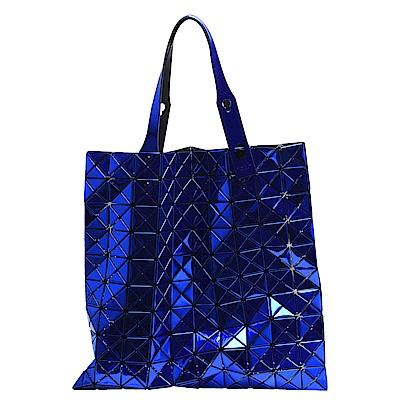 ISSEY MIYAKE 三宅一生BAOBAO幾何方格10X10手提包(金屬藍)