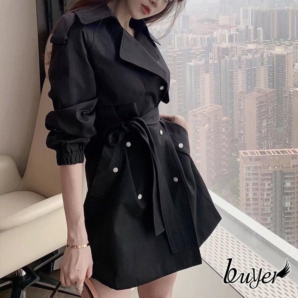 【buyer 白鵝】韓妞 腰帶顯瘦排釦風衣(黑色)