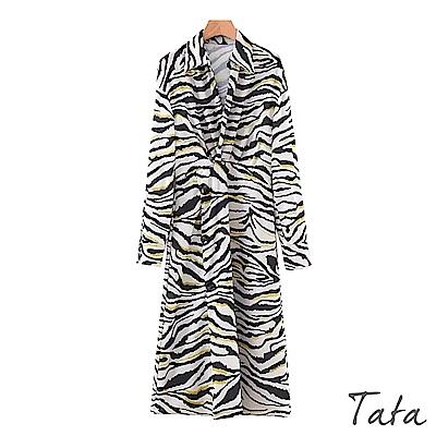 摩登斑馬紋側排扣洋裝 TATA