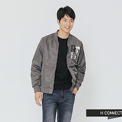 H:CONNECT 韓國品牌 男裝-簡約文字飛行外套-灰