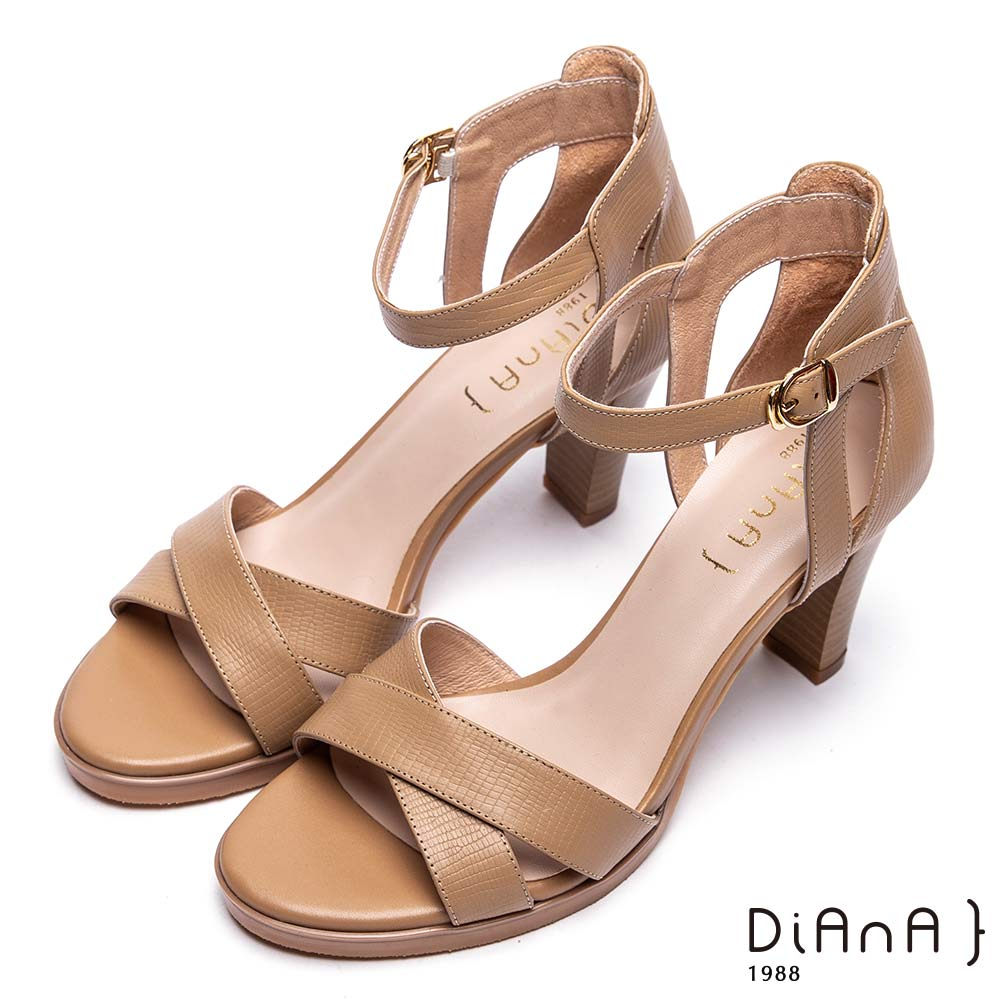 DIANA 魅力佳人-交叉蜥蜴壓紋羊皮高跟涼鞋-棕