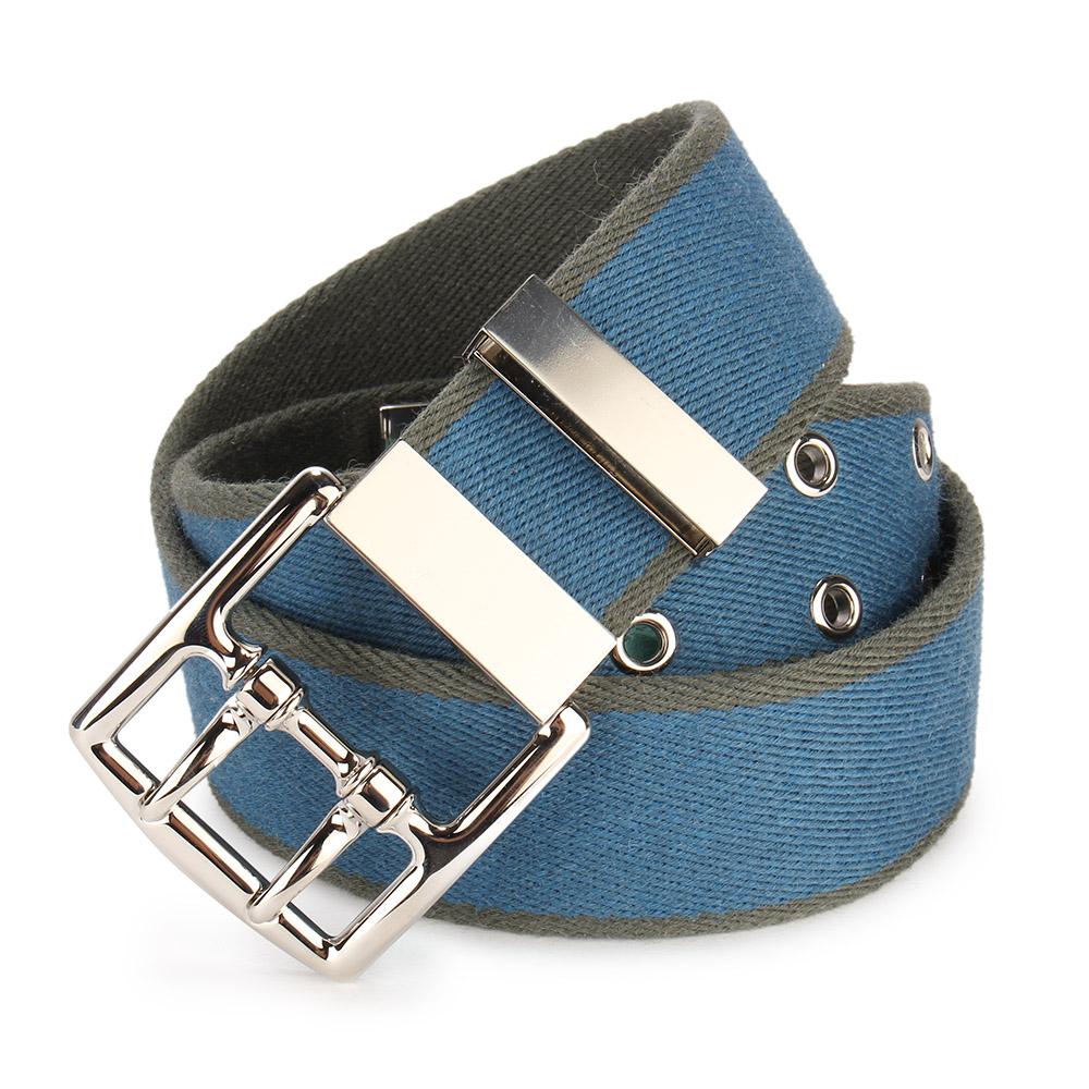 HERMES 羊毛雙層拼色扣式皮帶-藍/墨綠/80cm