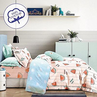 A-one - 100%純棉 雙人加大床包枕套三件組 -西瓜涼夏 台灣製