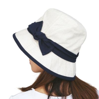日本AUBE 配色蝴蝶結可折疊抗UV遮陽帽