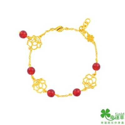 幸運草金飾 玫瑰香頌黃金/水晶手鍊