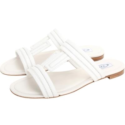TOD'S DoubleT 荔枝紋牛皮涼鞋/拖鞋(白色)