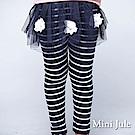 Mini Jule 褲子 網紗蕾絲花朵珠珠條紋假兩件長褲(寶藍)