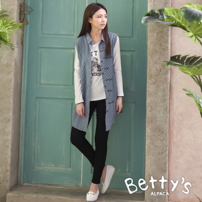 betty's貝蒂思 無袖直條紋牛仔上衣(條紋藍)