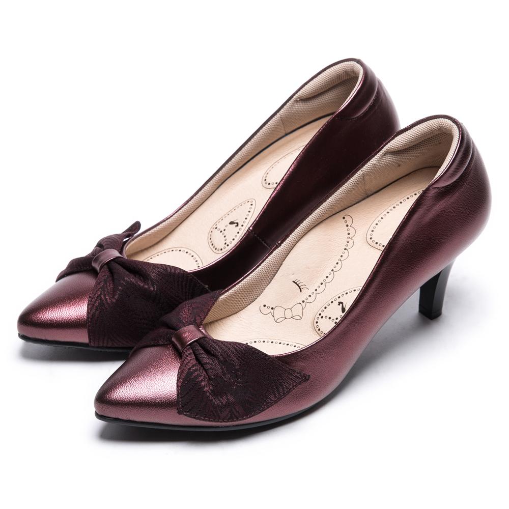 DIANA 輕熟時尚--蝴蝶結尖頭真皮跟鞋-紅