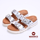 【WONDERS】- 西班牙進口 真皮亮面押紋厚底拖鞋 -銀色