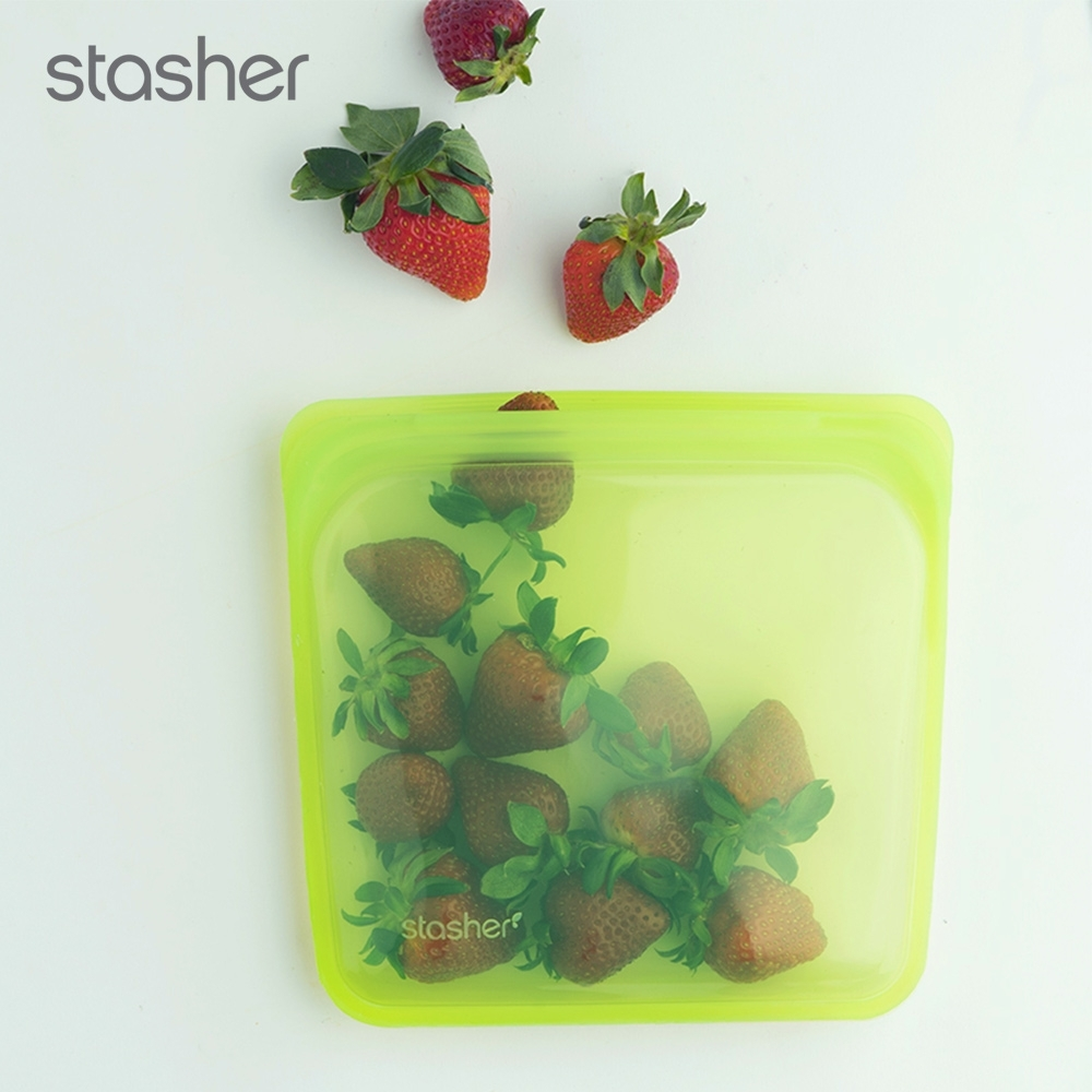 美國Stasher 方形環保按壓式矽膠密封袋-萊姆綠(快)