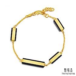 點睛品g collection 矩形黑玉髓 黃金手環