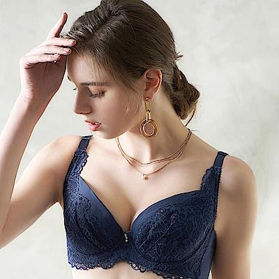 EASY SHOP-眷戀開運 大罩杯B-F罩成套內衣(富貴藍)