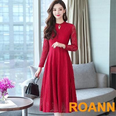 領口挖空設計蕾絲連身洋裝 (共二色)-ROANN