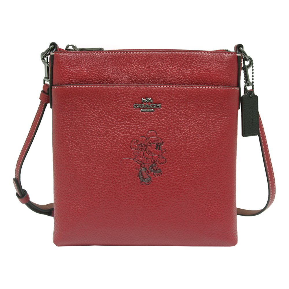 COACH DISNEY聯名 MINNIE 米妮壓印圖案牛皮斜背包-紅色
