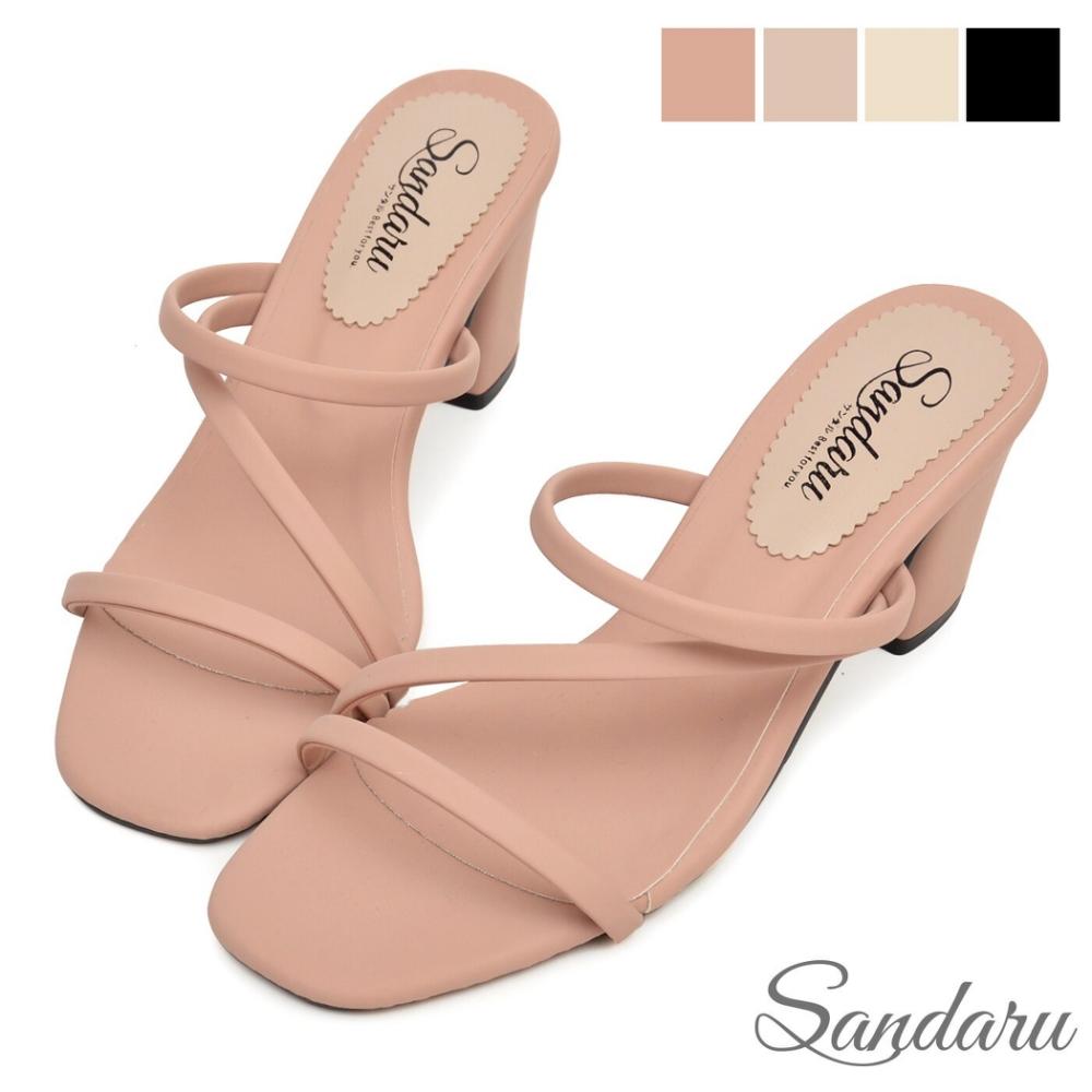 山打努SANDARU-拖鞋 簡約一字繞帶中跟鞋-粉