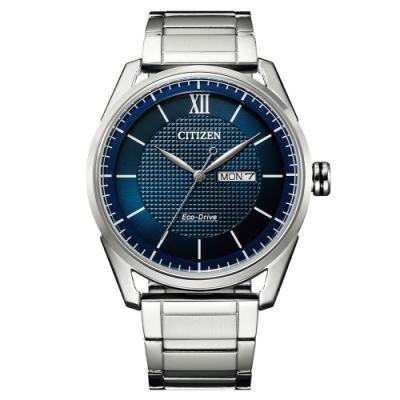 CITIZEN星辰 都會型男光動能簡約男錶-藍/42mm(AW0081-89L)