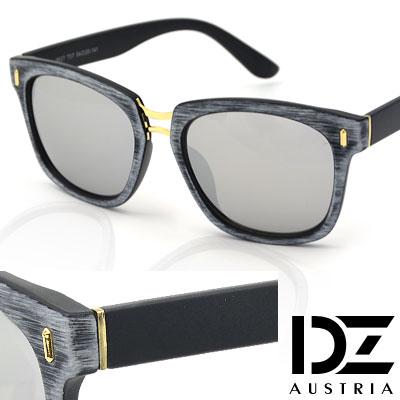 【2件59折】DZ 獨特彩木手工立體紋 防曬太陽眼鏡墨鏡(灰框水銀膜)