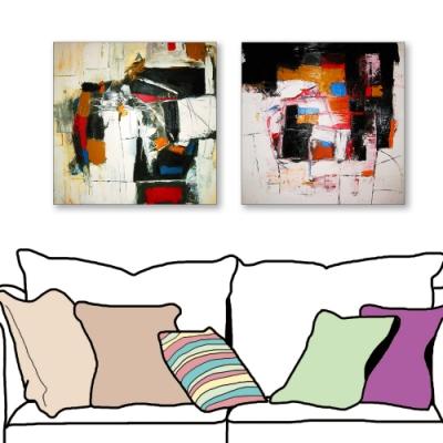 24mama掛畫-二聯式 藝術抽象 油畫風無框畫 50X50cm-寧靜的快樂