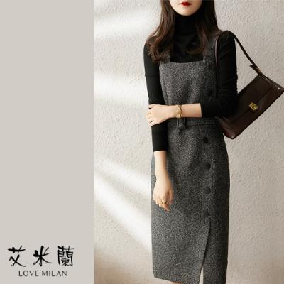 艾米蘭-韓版優雅綁帶排扣背心洋裝-黑灰色(M-XL)