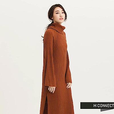 H:CONNECT 韓國品牌 女裝-高領粗羅紋寬袖洋裝-咖啡色(快)
