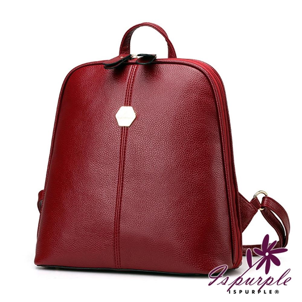 iSPurple 學院貝殼 皮革兩用側背後背包 紅