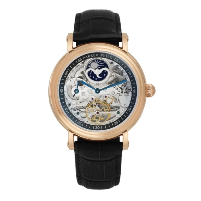 PARKER PHILIP派克菲利浦雙發條盒日月相兩地時區鏤空擺輪限量機械腕錶(玫殻/黑帶)