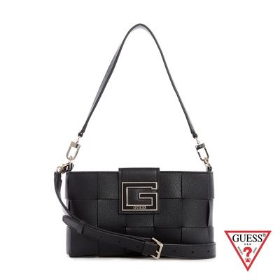 GUESS-女包-方形鉚釘大G編織肩背包-黑 原價2690