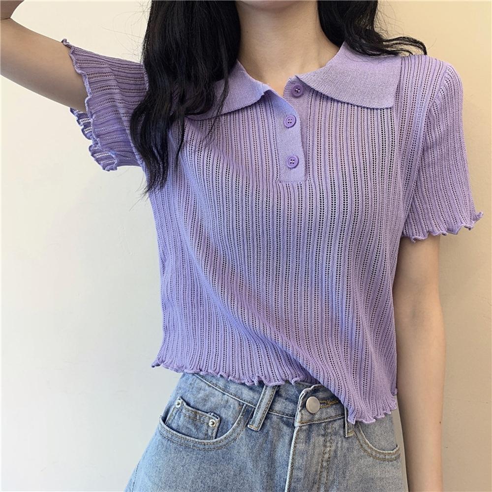 ALLK 歐楷 超彈力翻領針織上衣 共5色(尺寸F 任選) (紫色)