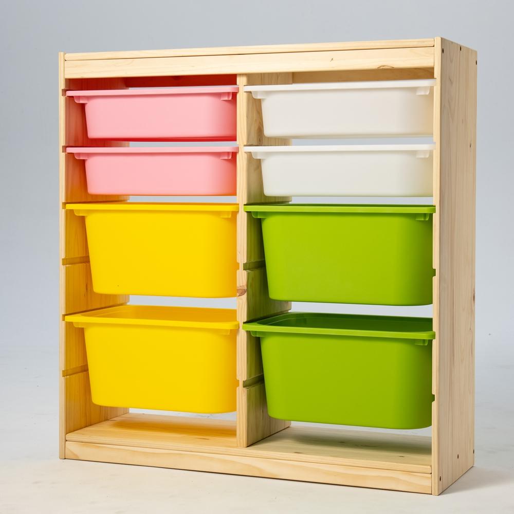 【日居良品】SS兒童安全傢俱系列-松木實木多彩單雙邊玩具收納櫃(實木傢俱)