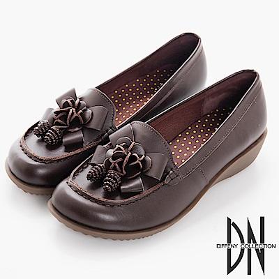 DN 典雅品味 簡約質感牛皮休閒鞋-深咖
