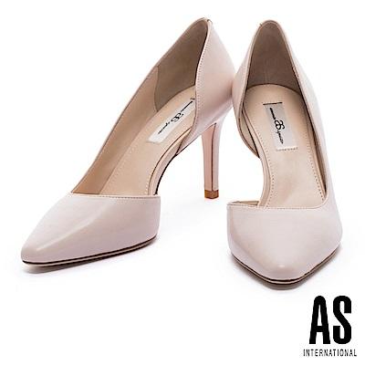 高跟鞋 AS 簡約純色側挖空全真皮尖頭高跟鞋-粉