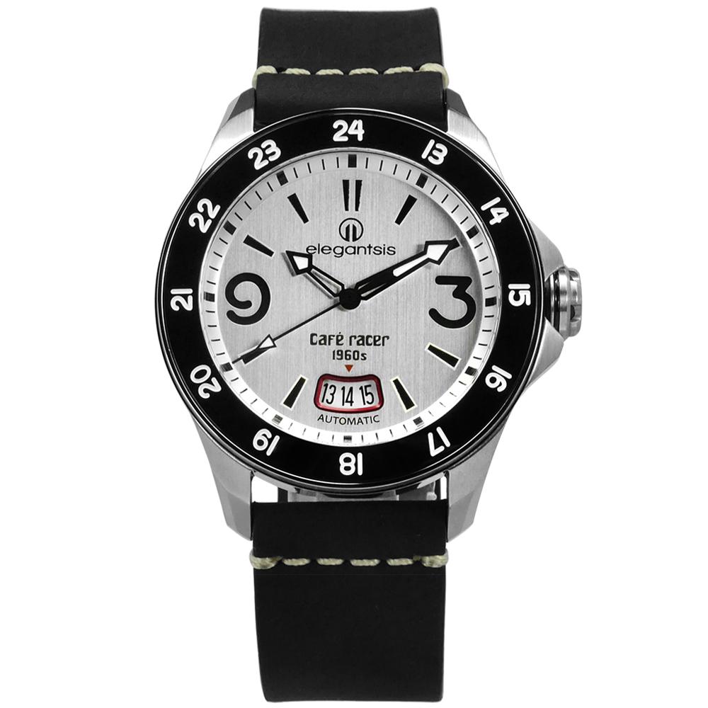 elegantsis CafeRace 新騎士風格機械錶真皮手錶-銀x黑/44mm
